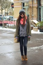 hot pink neon veritas scarf - dark khaki parka BDG coat