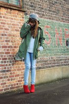 army green parka Zara jacket - ruby red booties Zara boots