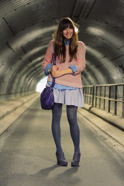 pink neon Topshop sweater - periwinkle summer COS dress