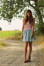 brown wedges Steve Madden wedges - aquamarine dotted Urban Outfitters skirt