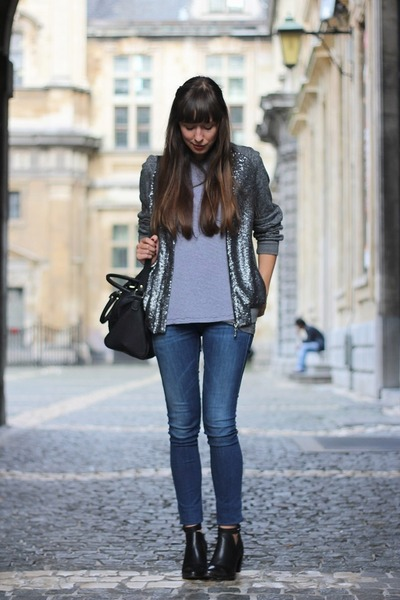 heather gray sequined costes jacket - black booties Sacha boots