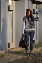 navy brogues asos shoes - navy denim Zara jeans - camel fedora H&M hat