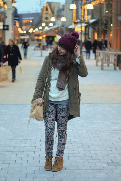 deep purple floral Mango pants - army green parka BDG coat