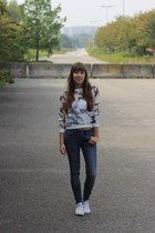 white sheer Fashion Union sweater - navy ripped WE fashion jeans
