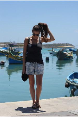black suede Topshop bag - light blue shorts Vila shorts
