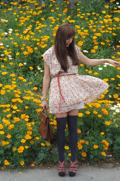 coral asos heels - cream Derek Lam  eBay dress - dark brown Urban Outfitters bag