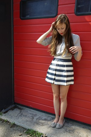 navy asos skirt - silver H&M blouse - heather gray Topshop loafers