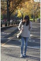 beige wool JCrew sweater - blue skinny jeans Diesel jeans