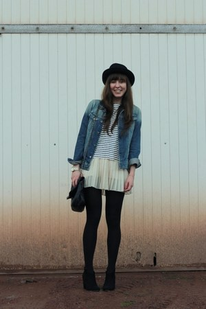 white sequin J Crew top - black booties Bershka boots - black round H&amp;M hat