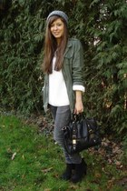 army green parka Forever21 jacket - black booties scholl boots