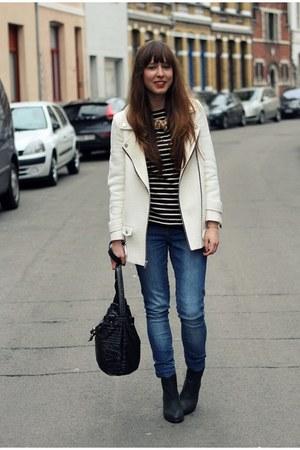 white zippers Zara jacket - black pistol booties Sacha boots