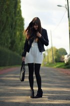 black biker Mango jacket - black booties Bershka boots