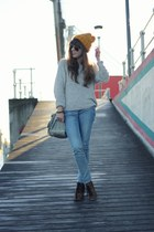 mustard wool H&M hat - blue denim Levis jeans