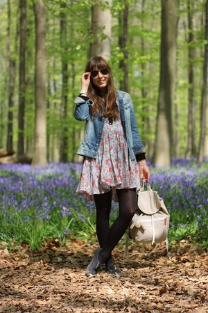periwinkle floral Topshop dress - navy denim G-Star jacket