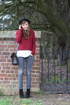 black suede schll boots - heather gray denim Zara jeans - black Topshop hat