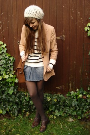 nude H&M blazer - black striped Topshop jumper - blue denim Zara skirt