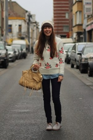 white vintage vintage sweater - periwinkle brogues French Connection shoes