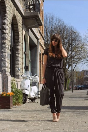 charcoal gray jumpsuit Only jumper - beige suede zalando boots