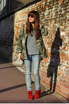 dark brown brown ray-ban sunglasses - dark khaki parka Zara jacket