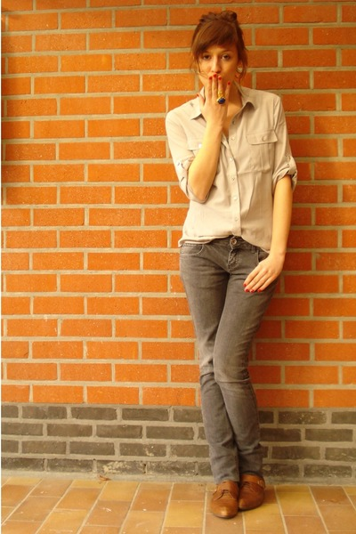brown new look shoes - heather gray Zara jeans - heather gray H&M shirt - blue Y