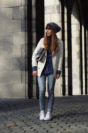 navy denim Zara shirt - white white Zara coat - blue skinny Cheap Monday jeans