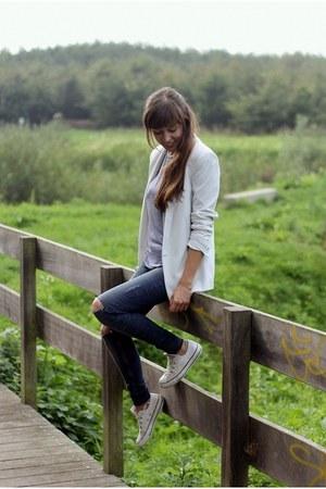 white blazer Mango blazer - navy ripped WE fashion jeans