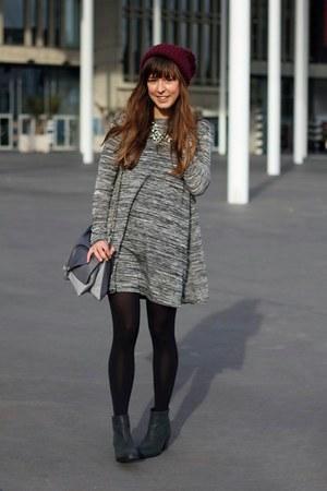 black pistol Sacha boots - charcoal gray longsleeve ribbon dress