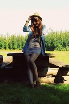 sky blue denim Zara shirt - brown leather Sacha boots - pink H&M dress