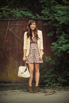 salmon floral asos dress - camel suede Zara boots - neutral H&M blazer
