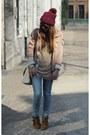 Blue-skinny-levis-jeans-magenta-beanie-zara-hat-light-pink-parka-h-m-jacket