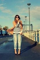 blue boyfriend River Island jeans - white striped Topshop sweater