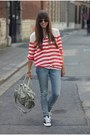Blue-skinny-jeans-levis-jeans-red-striped-club-monaco-shirt