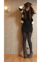 white H&M jacket - black H&M dress - heather gray H&M socks - heather gray new l