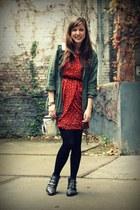 brick red hear AX Paris dress - black studded Sacha boots
