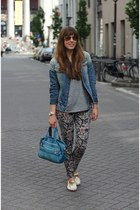 denim G-Star jacket - leather Kipling bag - aviator ray-ban sunglasses