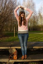 brown flats new look shoes - navy denim Zara jeans - heather gray wool H&M hat