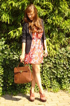 ruby red Zara dress - navy H&M blazer - brown Urban Outfitters bag