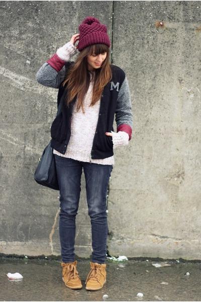 black varsity jacket maison scotch jacket - dark gray skinny Zara jeans