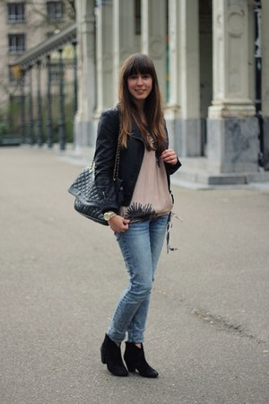 black booties ASH boots - blue skinny Cheap Monday jeans