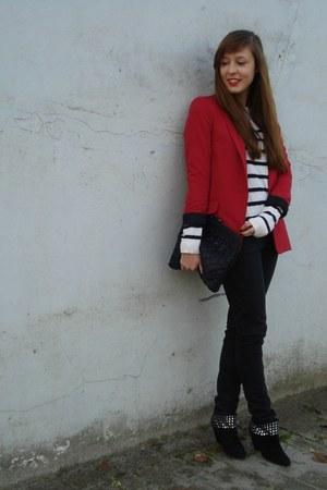 ruby red River Island blazer - black skinny denim Lee jeans