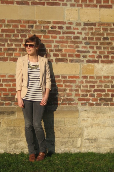 brown new look shoes - gray Zara jeans - neutral H&M blazer - brown asos sunglas