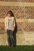 brown new look shoes - gray Zara jeans - neutral H&M blazer - brown asos sunglas