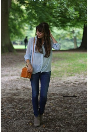blue skinny Diesel jeans - heather gray booties ASH boots