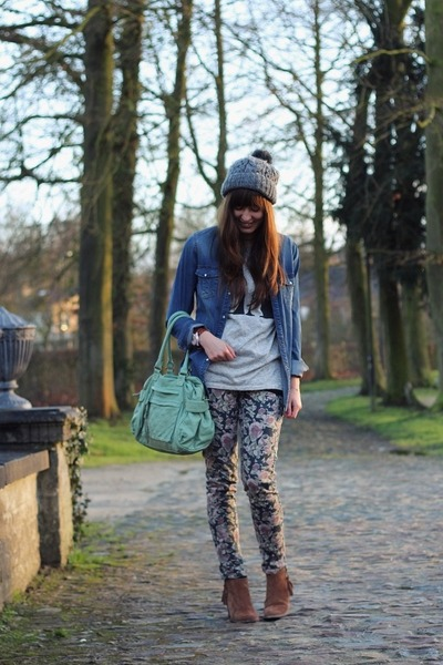 puce floral Mango pants - brown studded Primark boots - blue denim H&M shirt