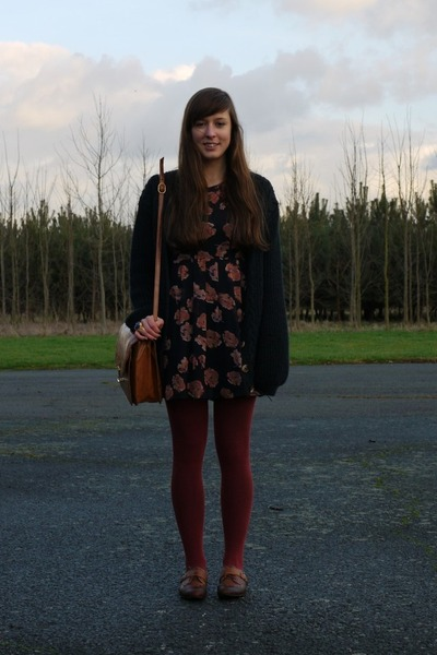 navy floral dress Urban Outfitters dress - crimson unknown socks