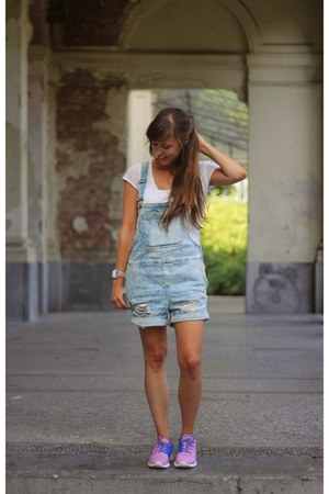 white see-through Swatch watch - blue dungarees Noisy May jumper