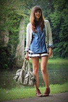 blue denim H&M shirt - brown leather Sacha boots