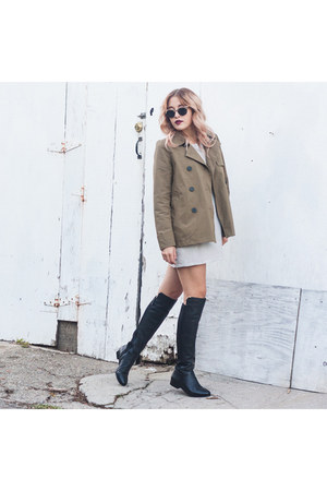 trench everlane jacket - Cole Haan boots - t-shirt dress Azalea dress