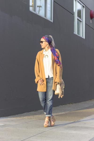 headband Lucky Brand scarf - boyfriend jeans Gap jeans