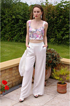 light pink new look top - white H&M cardigan - white Primark pants